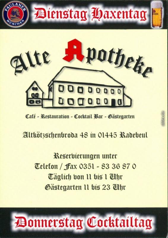 Ansichtskarte Radebeul Werbung Alte Apotheke Altkötzschenbroda 2009