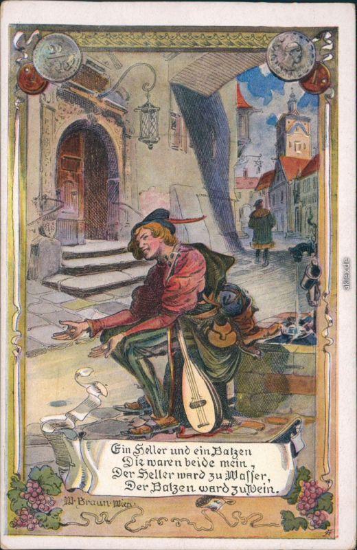 Ansichtskarte  Ein Heller und ein Balzen - Künstlerkarte 1917