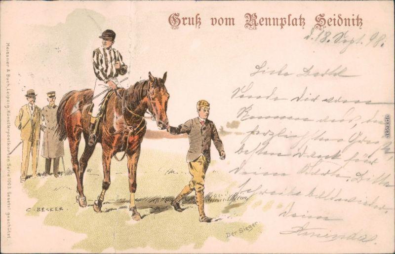 Dresden Künstlerkarte v. C. Becker: Gruß vom Rennplatz Seidnitz 1898