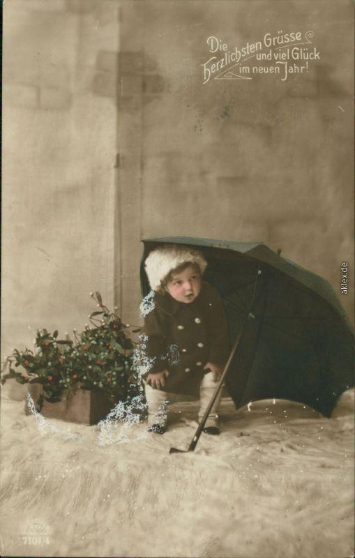 Ansichtskarte  Glückwunsch - Neujahr/Sylvester Kind unterm Regenschirm 1916