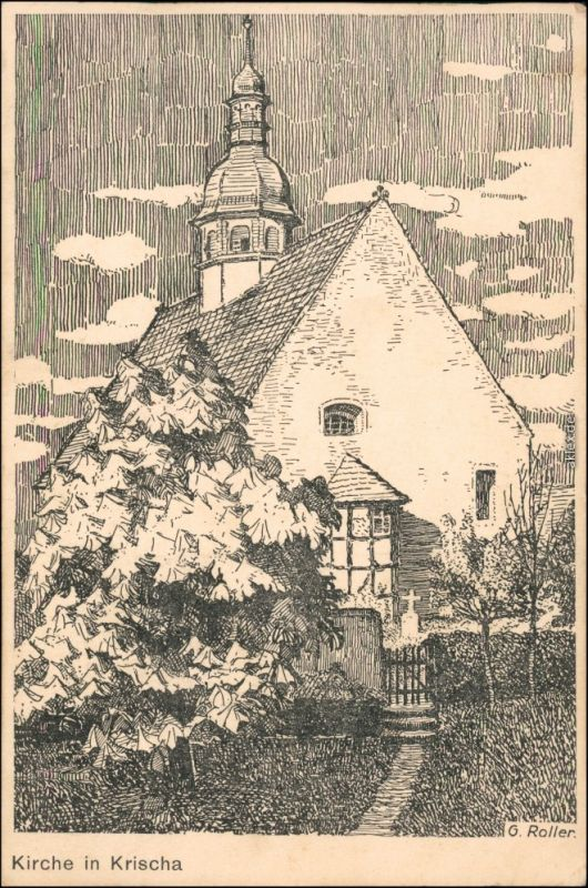 Ansichtskarte  Künstlerkarte v. G. Roller: Kirche in Krischa 1930