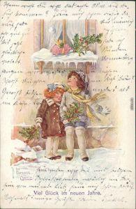 Neujahr/Sylvester - Zwei Mädchen im Schnee suchen das Glcüksschwein 1917