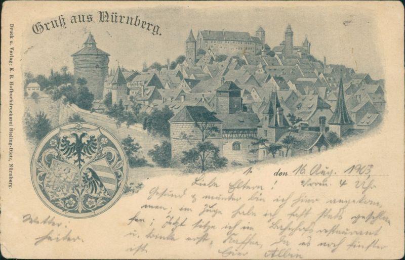 Ansichtskarte Nürnberg Blick auf die Burg Heraldik 1903