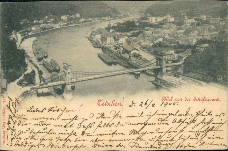 Tetschen-Bodenbach Decín Blick von der Schäferwand auf die Stadt 1900