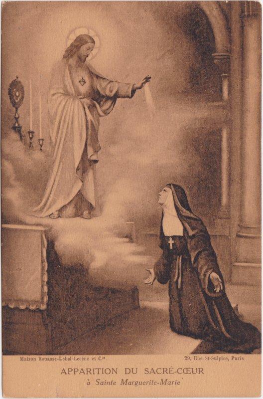 Ansichtskarte  Apparttion du Sacré-cœr à Sainte Marguerite-Marie 1910