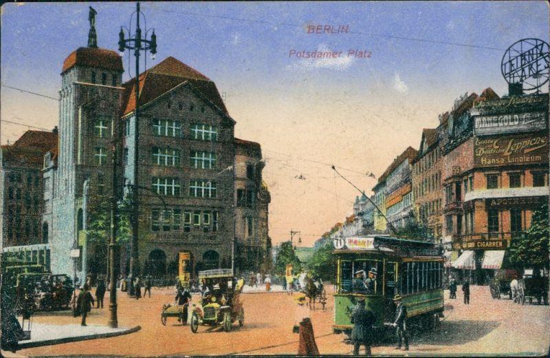 Ansichtskarte Tiergarten-Berlin Potsdamer Platz Straßenbahn Verkehr 1918