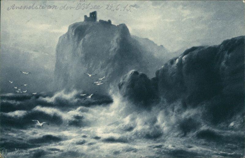 Künstlerkarte: Gemälde von Arendsee (Ursprungsort, heute: Kühlungsborn) 1915