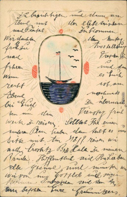 Ansichtskarte  Hangeferigte Künstlerkarte Segelboot 1926
