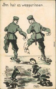 Scherzkarte: Militaria Soldaten 1.WK Ihn hat es Weggerissen 1916