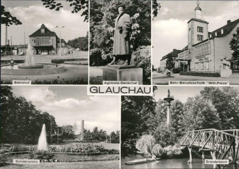 Glauchau Bahnhof, Agricola, Berufsschule, Schillerplatz, Gründelteich 1975
