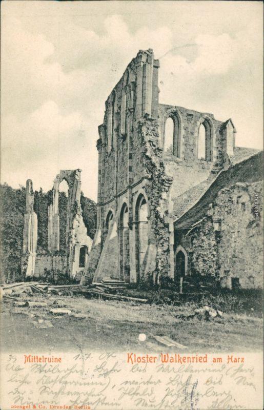 Ansichtskarte Walkenried (Harz) Kloster-Ruine 1904