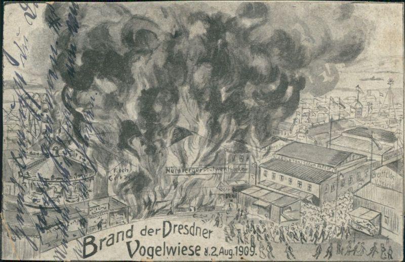 Dresden Brand der Dresdner Vogelwiesen am 2. Aug. 1909 - Zeichnung 1909