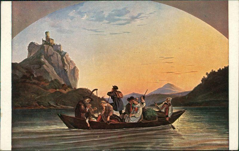 Schreckenstein  Aussig  Ústí nad Labem   KK Gemälde v. L. Richter   1925