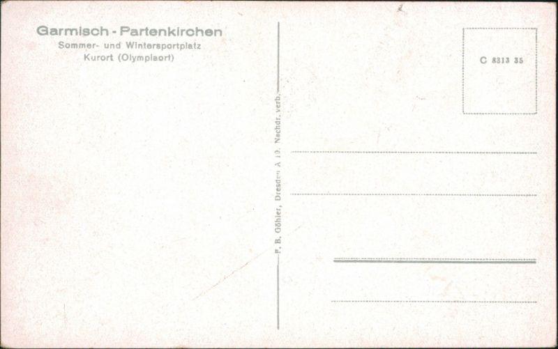 Ansichtskarte Garmisch-Partenkirchen Landkarten-Ansichtskarte 1935 1
