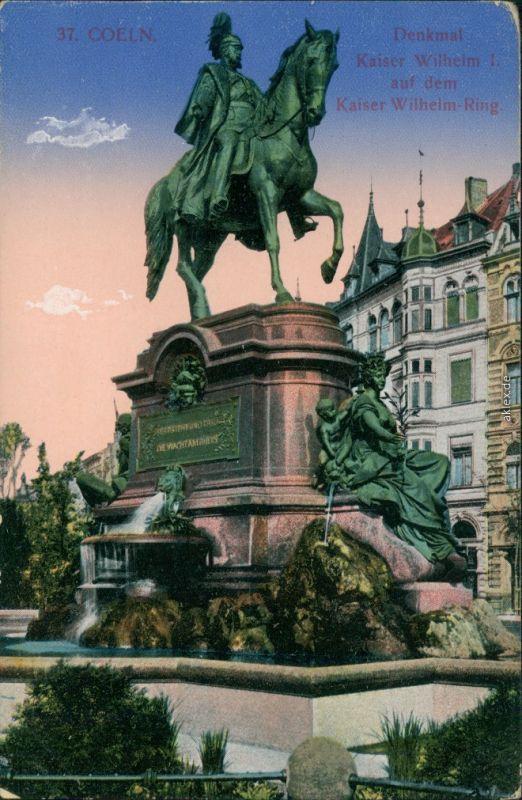 Ansichtskarte Köln Kaiser Wilhelm Denkmal auf dem Kaiser Wilhelm-Ring 1916