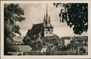 Ansichtskarte Lommatzsch Über den Dächern - Blick zur Kirche 1979