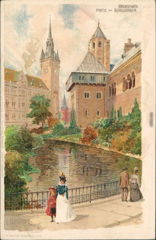 Braunschweig Burg - Partie am Bruggraben - Gemälde - Schmidt 1903