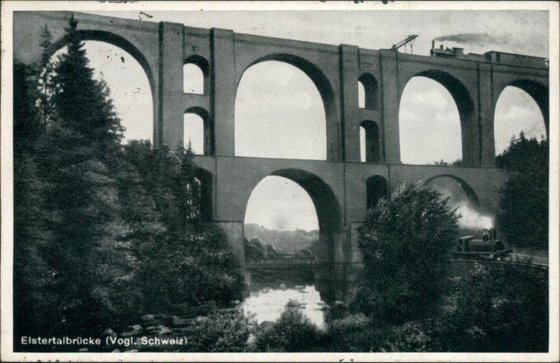 Ansichtskarte Jocketa-Pöhl Elstertalbrücke 1937
