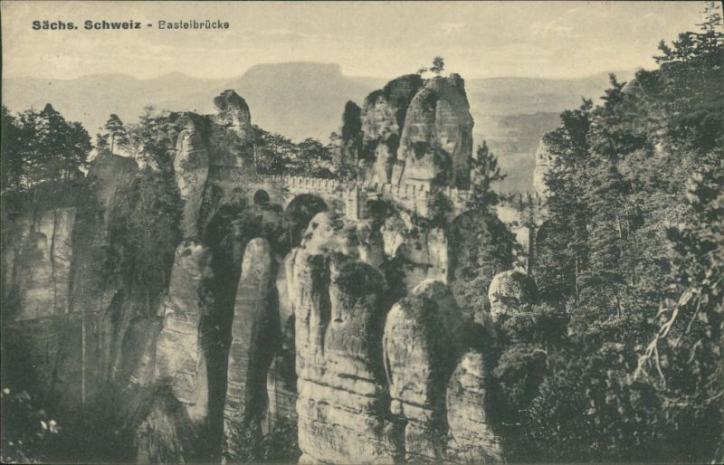 Ansichtskarte Rathen Basteibrücke 1932