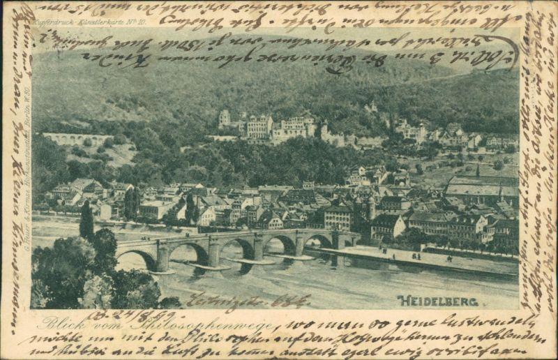 Postcard Heidelberg Künstlerkarte: Blick auf die Stadt 1899