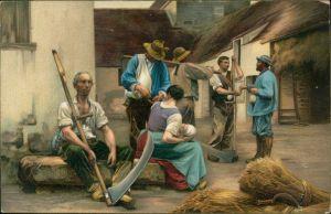 Postcard  Berufe /Arbeit: Bauern bei der Pause 1913