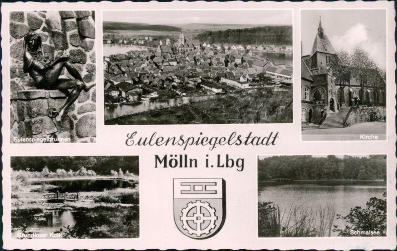 Mölln (Schleswig-Holstein) Eulenspiegelbrunnen, Panorama, Kirche Kolk 1959