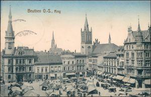 Postcard  Beuthen O.S. Bytom   Beuthn Partie am Ring - Geschäfte 1915