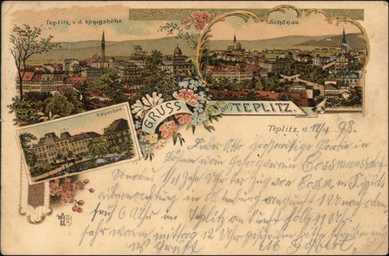 Postcard Teplitz - Schönau Teplice 3 Bild Litho: Stadt - Kaiserbad 1898