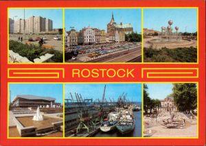 Ansichtskarte Rostock Wohnhochhaus am Wilhelm-Pieck-Ring, Überseehafen 1985