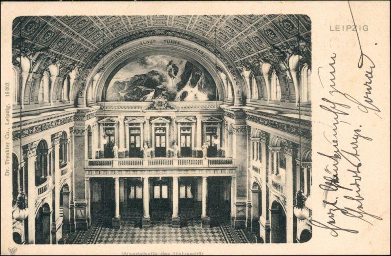 Ansichtskarte Leipzig Wandelhalle in der Universität 1902