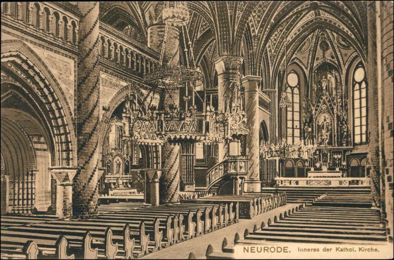 Postcard Neurode Nowa Ruda Inneres der kat. Kirche 1911