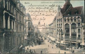 Ansichtskarte Mitte-Berlin Spittelmarkt mit Leipziger Strasse 1908