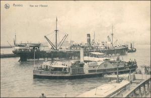 Postkaart Antwerpen Anvers Dampfer und Schauffelraddampfer im Hafen 1905