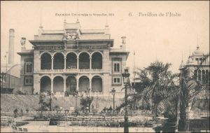 Postkaart Brüssel Bruxelles Exposition de Bruxelles Pavillon Italia 1910