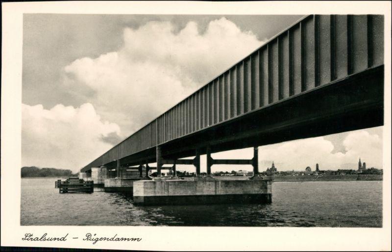 Ansichtskarte Stralsund Stadt und Rügendamm 1934
