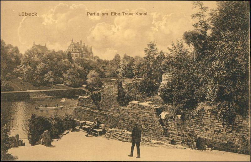 Ansichtskarte Lübeck Häuser - Partie am Elbe Trave Kanal 1918