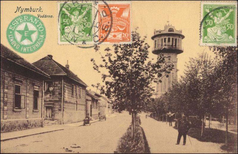 Nimburg (Neuenburg) Nymburk Straßenpartie, Wasserturm - Esperanto 1918