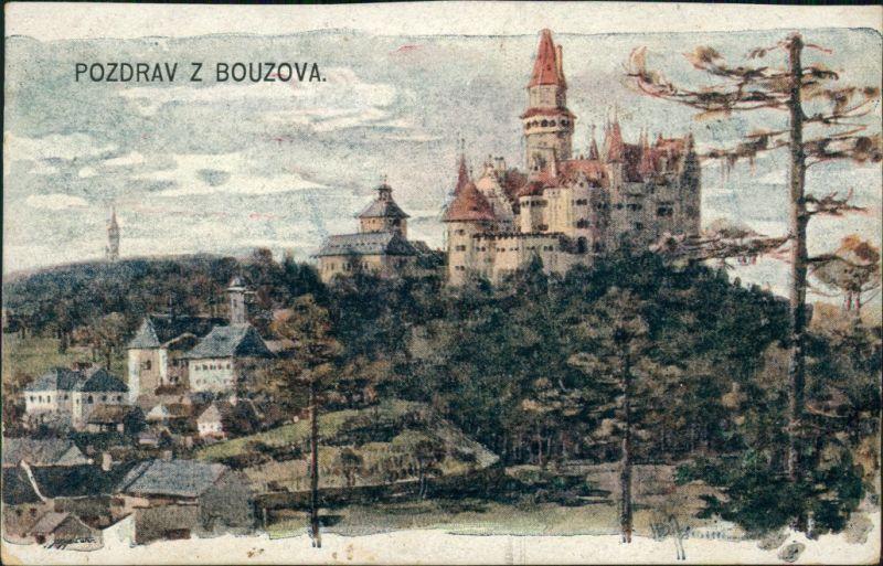 Postcard Busau (Mähren) Bouzov Ort mit Burg 1919