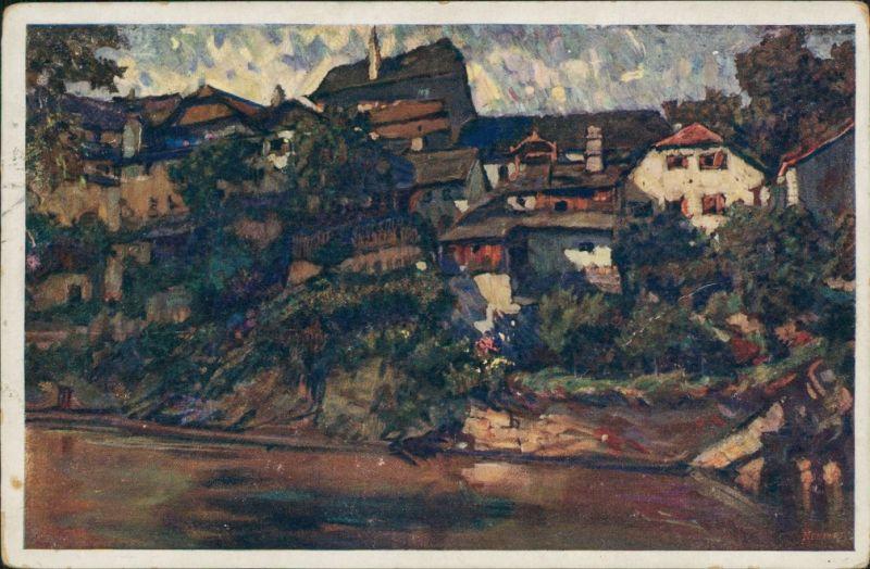 Flößberg-Böhmisch Krumau Plešivec Český Krumlov Künstlerkarte von L. Kuba 1913