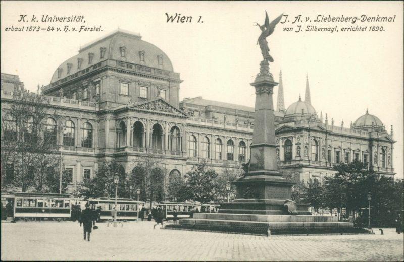 Ansichtskarte Wien Universität und J.A.v. Liebenberg-Denkmal 1912