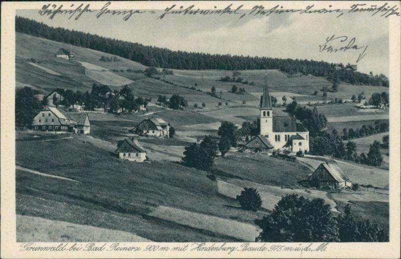 Grunwald-Bad Reinerz Zieleniec Duszniki-Zdrój Blick auf den Ort mit Hindenburg Baude 1929