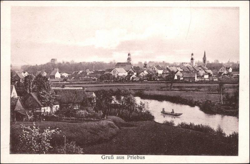 Postcard Priebus Przewóz Blick auf Bauernhäuser und Stadt 1929