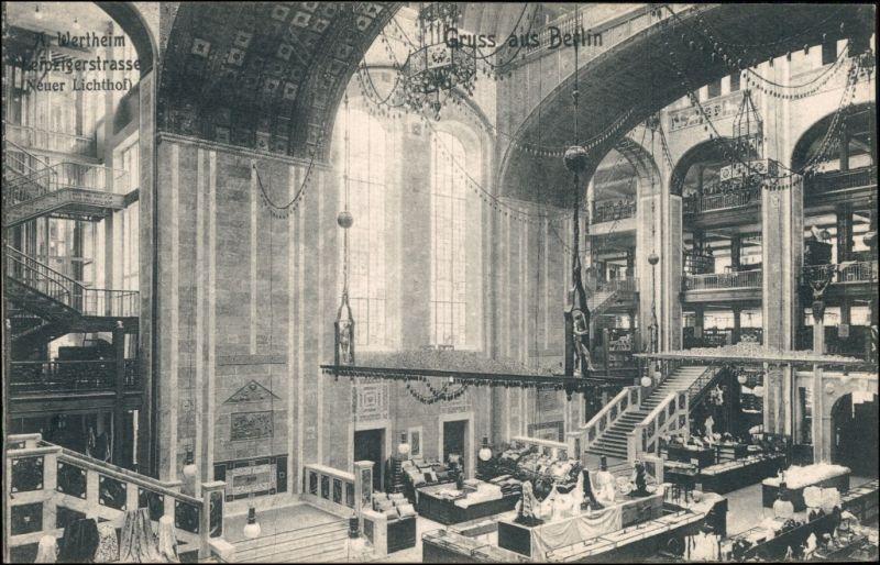 Ansichtskarte Mitte-Berlin Wertheim Leipziger Straße - Lichthof 1906