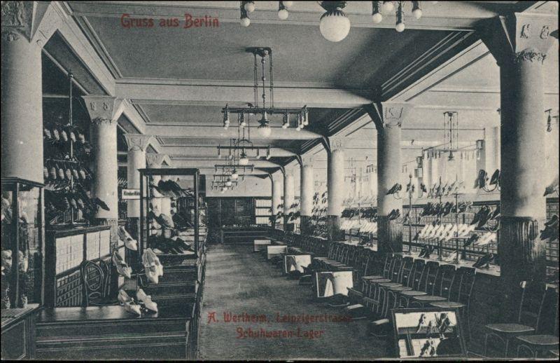 Ansichtskarte Mitte-Berlin Wertheim Leipziger Straße - Schuhlager 1906
