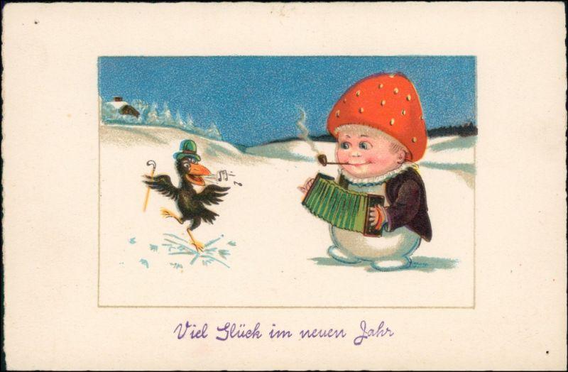 Ansichtskarte  Neujahr - Fliegenpilz als Mensch 1928