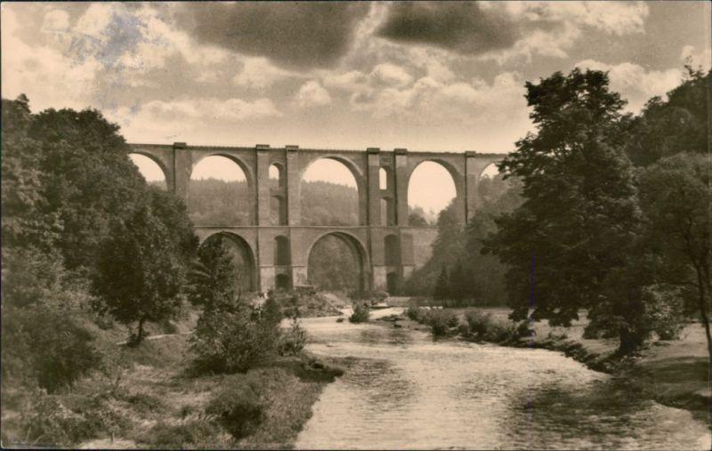Ansichtskarte Jocketa-Pöhl Elstertalbrücke 1958