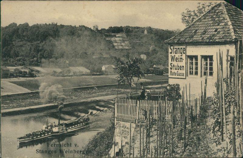 Ansichtskarte Spaar-Meißen Stanges Weinstuben - Dampfer 1918