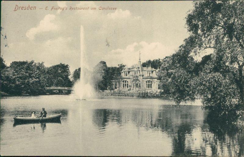 Dresden Carolasee im Großen Garten, E. Freitag's Restaurant 1910