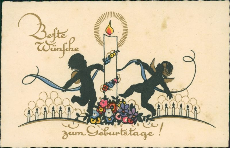 Mailick 2 Engel tanzen um eine mit Blumen geschmückte Kerze 1930
