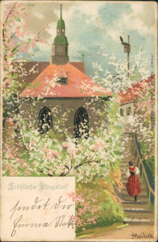 Mailick   Pfingsten - Kirche, Frau geht Treppe hinauf, Kirschblüte 1905
